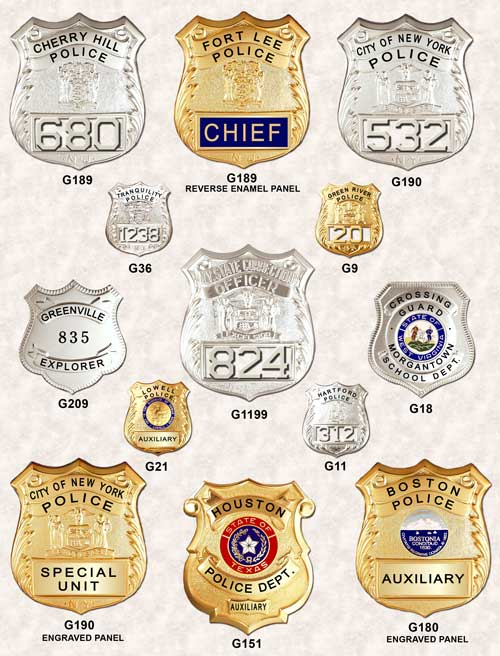 garel police badge shields ga-rel